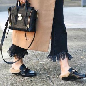 Shoes - Black fur lined women's shoes flats mules